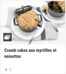 Crumb cakes aux myrtilles et noisettes